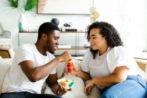 Couple eating food