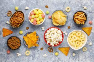 Tasty snacks in bowls